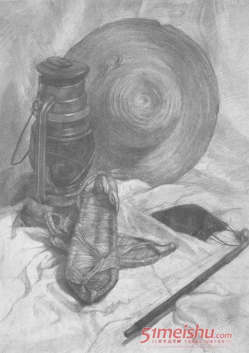 中央美术学院优秀静物图纸素描012v静物太阳能精品图片