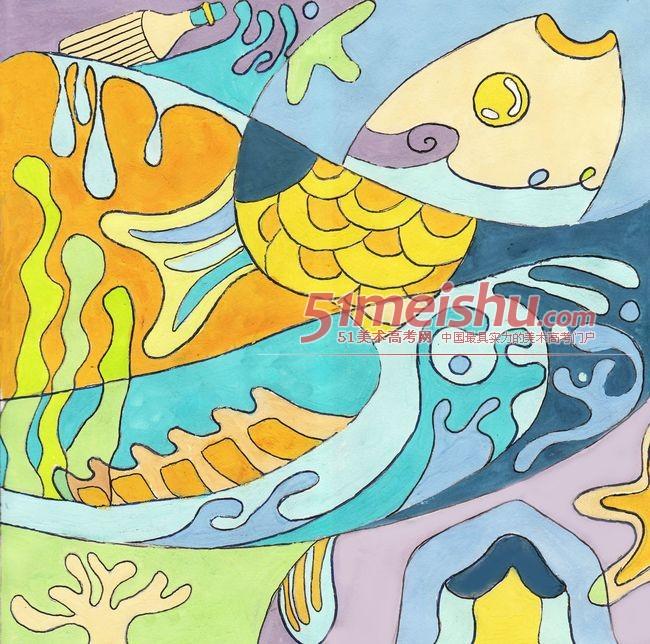 色彩装饰画学生作品欣赏36_色彩装饰画 - 51美