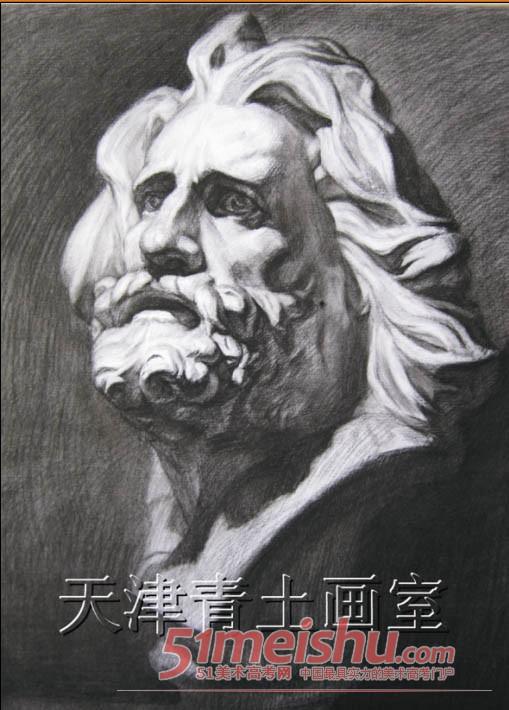 天津青土作品素描石膏像-马赛_画室别墅设计投稿简单图纸三层画室图片