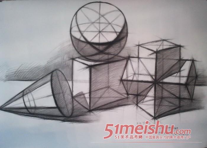 石膏几何图形素描,几何石膏体素描步骤图,石膏几何图,几何石膏结