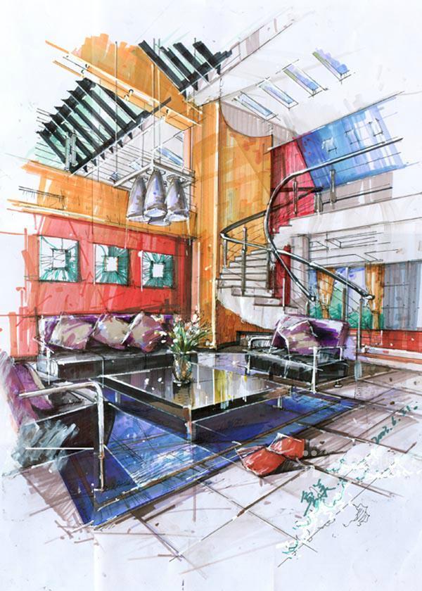 建筑手绘,马克笔,水彩,彩铅技巧教授 央美鲁美师资