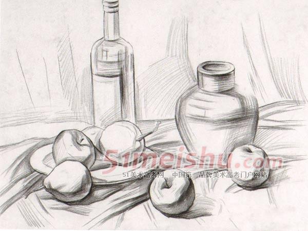 《深口陶罐,啤酒瓶,苹果》素描静物写生步骤图