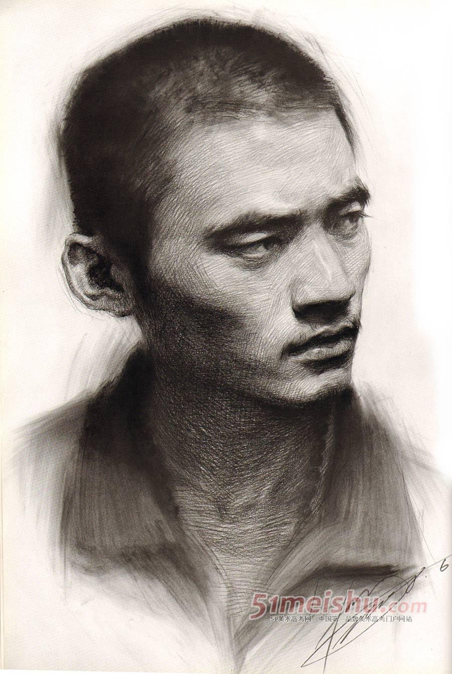 短发男青年正面侧面多角度素描头像步骤详细图f.jpg
