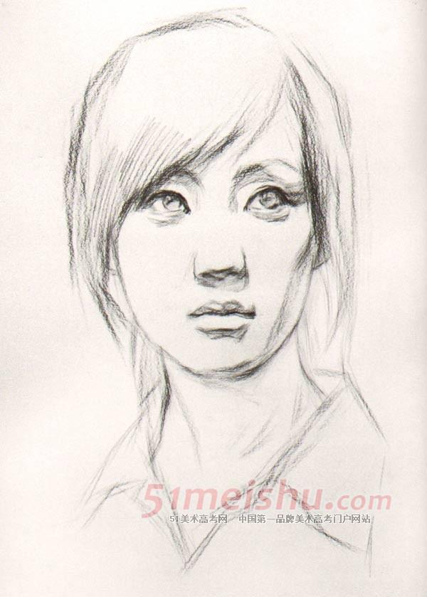 青年女子正面素描头像步骤详细图