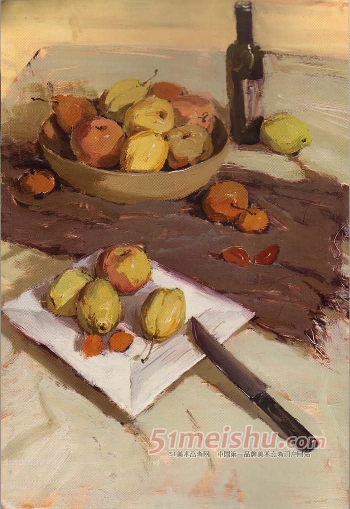 高考速递 色彩静物应试范例 棕色衬布瓶子水果水果刀水果盘色彩写生
