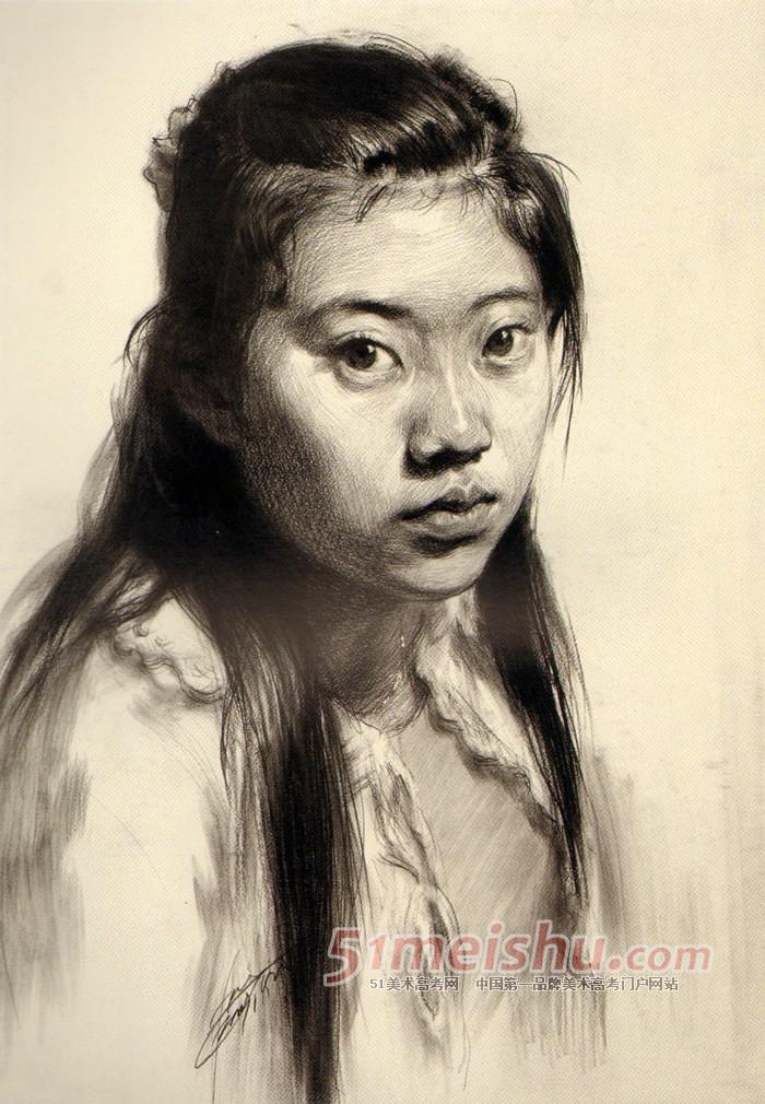 《教学素描--青年头像女生现场》女视界四分之肖像美院v教学qq头像图片